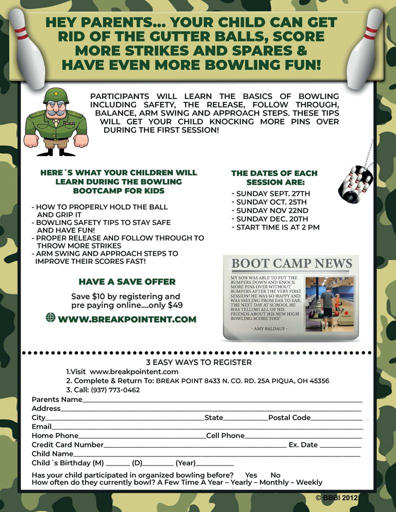 Bowling Bootcamp for Kids