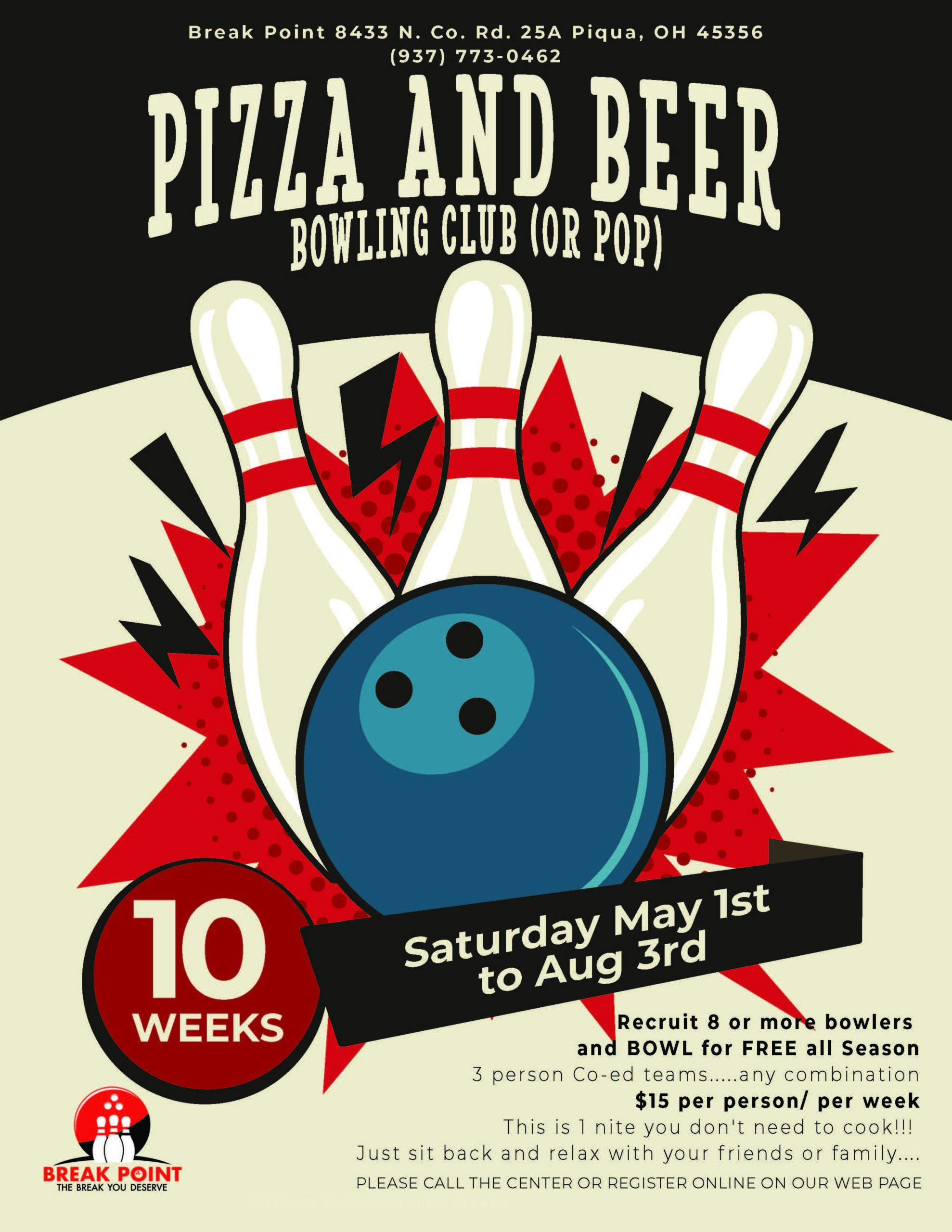 Pizza and Beer Bowling Club (or pop)